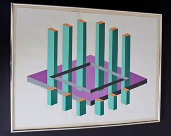 Mid Century Modern Op Art Print Signed Dated Numbered by Chalf 1970 23/75 Purple