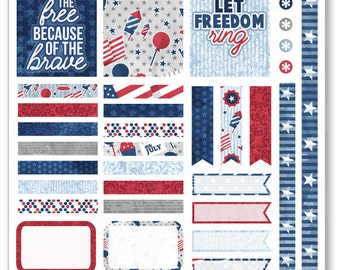Old Glory Decorating Kit / Weekly Spread Planner Stickers for Erin Condren Planner, Filofax, Plum Paper