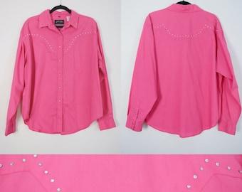 1990s Western Shirt // Pink, Rhinestones, 90s, White Horse, Button Up, Women Size XL