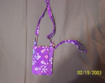 Purple Print Cell Phone Purse With Shoulder and Wrist Strap