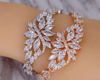 Bridal Bracelet Wedding Cubic Zirconia Bride Bracelet White Crystal Wedding Jewelry Marquise Cut Cuff Bracelet CZ Bridesmaid Gift B86