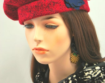 Red Wool Beret with Blue Flower