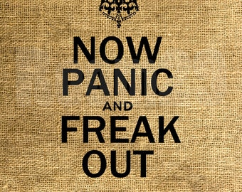 INSTANT DOWNLOAD - Now Panic and Freak Out - Download and Print - Image Iron On Transfer - Digital Sheet by Room29 Sheet no. 1087