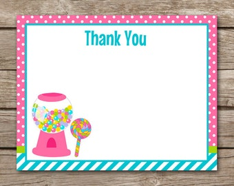 Candy Thank You Cards, Candy Party Thank You, Candy Birthday Thank You, Candy Cards, Candy Note Cards, Candy Notecards, INSTANT DOWNLOAD