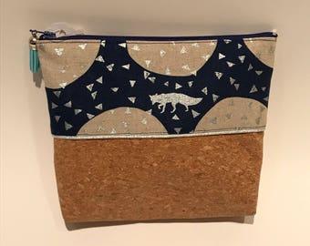 Cork clutch and Fox fabric
