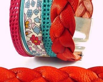 20 cm orange braided leather, width 14mm (cui79)