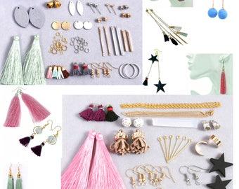 Earring Making Kit, Jewelry Making Kit, Dangle, Silk Tassel, Wood charms, Leather Tassel, tassel earring, Blanks Bar, charm hoop earring