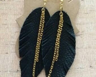 Leather Feather Earrings, Leather Earrings, Feather Earrings