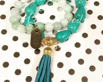 Pray Tassle Gemstone Bracelet Set