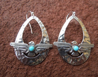 Sterling Silver Teardrop Hoop Earrings with Thunderbird and Turquoise - Bird earrings