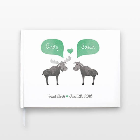 Moose Wedding Guestbook, Bridal Shower Guest Book, Animal Wedding Guest Book, Unique Engagement Gift, Personalized Journal, Couple Notebook