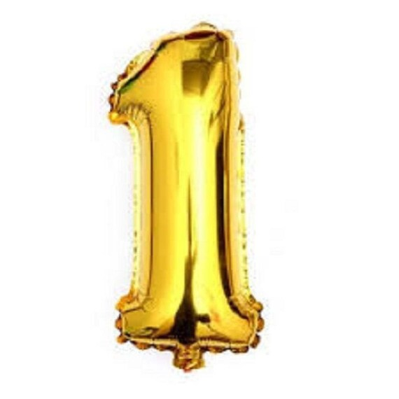 First Birthday Decorations Number One 1 Helium Balloon Huge Gold