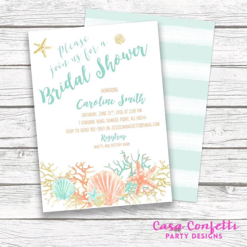 Beach Bridal Shower Invitation Coral Starfish Bridal Shower Invite