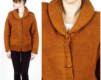 Vintage 1970s Rust Brown Hand Knit Grandpa Cardigan with Rolled Shawl Collar and Wooden Buttons | Small/Medium