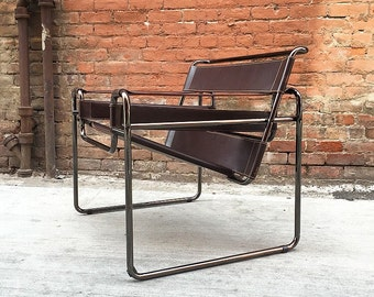 Lovely Chocolate Brown Leather Anodized Chrome Wassily Style Chair Lounge Chair /  Accent Chair