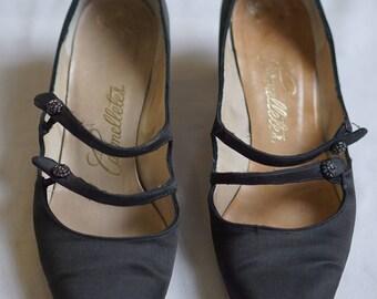"1950s Black Satin shoes ""Carmelletes"" size 8/8.5"