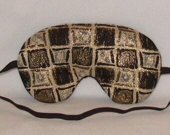 Handmade Gold black Block Sleep Eye Mask Blindfold Hen Blackout Migraine Relief