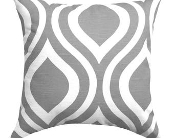 Grey Pillow Cover - Emily Storm Grey Decorative Throw Pillow Cover - Gray Pillow Sham - Grey and White Ogee Pillow Case, Gray Throw Pillow