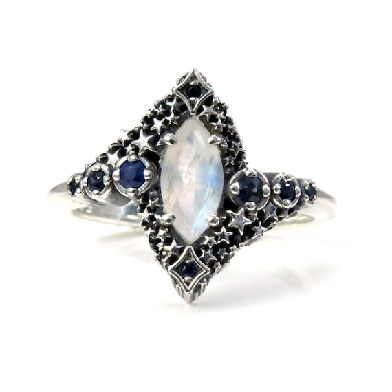 Rainbow Moonstone and Sapphire Stardust Engagement Ring - Silver Silver - Pick Your Center Stone