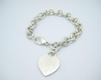"Tiffany & Co. Sterling Silver Heart Tag Bracelet 7 1/2"""
