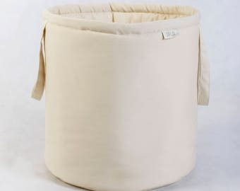 Basket for toys, beige, cotton