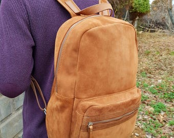 camel leather backpack,Leather Backpack,Men's Leather Backpack,Women's Leather Backpack,Laptop Backpack,real leather rucksack,backpack,bag