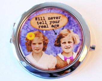 Funny compact mirror, mirror, purse mirror, BFF, pocket mirror, Your real age, compact mirror, gift for friend (2076)