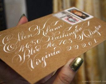 CLASSIC SCRIPT Hand Calligraphy Inner Envelope Address Flourish Wedding