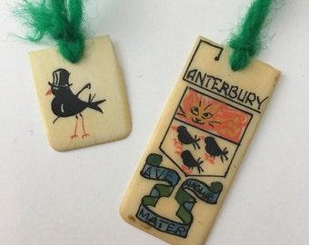 Vintage piano key Canterbury bookmark, Canterbury souvenir, upcycled piano key, Canterbury crest, bookmark souvenir, canterbury crow