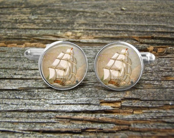 Sail Boat Vintage Clipper Ship Cufflinks-Wedding-Jewelry Box-Silver-Keepsake-Man gift-Science-Men-Geek-Groom-Groomsmen-Science-Nautical