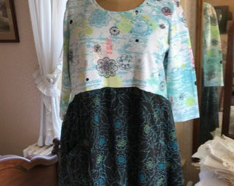 Upcycled XL Christopher Banks Cotton Tee with Crinkled Chiffon Skirt