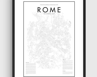 Minimal Rome Map Poster, Black & White Minimal Print Poster, Art, Home Art, Minimal Graphics, Rome Poster, Map Home Decor, Italy Rome Poster