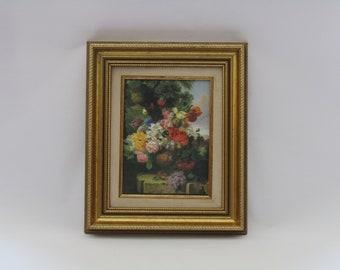 vintage framed oil painting on canvas, original painting, dead nature painting, framed painting,  wall hanging art. wall art