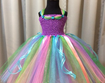 Rainbow multi-color princess tulle tutu dress, purple pink turquoise green tutu dress for girls, birthday gift for her, princess dress up