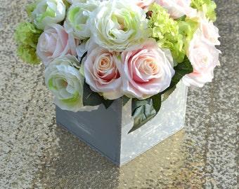Rustic Wedding Centerpiece. Pink Blush Roses With Hydrangeas & Peonies Centerpiece. Hydrangea Centerpiece. Peony Wedding Centerpiece.