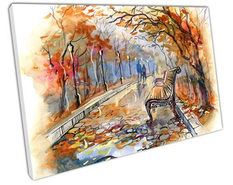Couple having an Autumn walk in the park Illustration Art Ready to Hang X1371