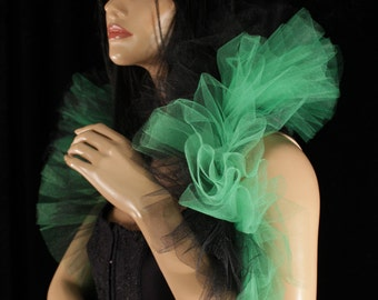 Tulle tie on shoulder shrug wrap green and black gothic formal dance bridal stole shrug formal -- Sisters of the Moon