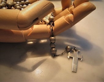 Vintage Sterling Rosary, Made in Mexico, .925, Gothic Cross, Modern Rosary, Catholic Icon