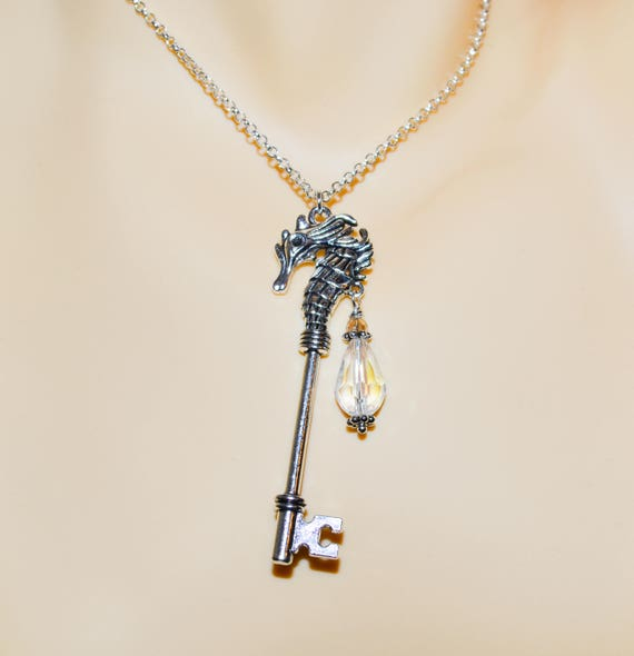 Seahorse Key Necklace - Iridescent Crystal / Silver