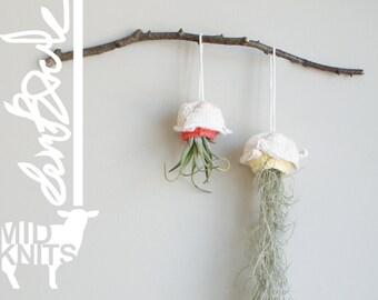 """DIY Knitting PATTERN - Origami Rose Air Planter  Size: 3"""" diameter (2015011)"""