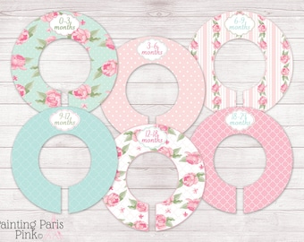 Shabby Chic Roses Closet Organizing Divider | Fully Assembled | Set of 5 or 6