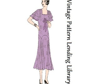 1930-31 Ladies Afternoon Tea Frock - Reproduction Sewing Pattern #T3221