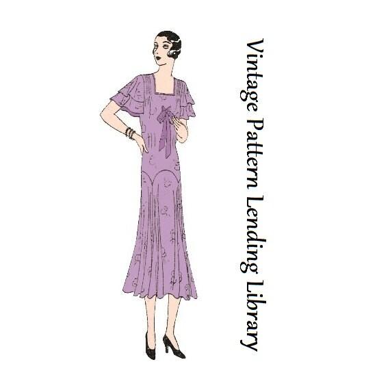 1930-31 Damen am Nachmittag Tee Kleid Reproduktion