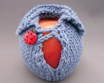 Lucky Ladybug Denim Apple Cozy, Apple Jacket, Knit Apple Wrap, Back to School, Stocking Stuffer, Teacher Gift, Gift Wrap Apple Button