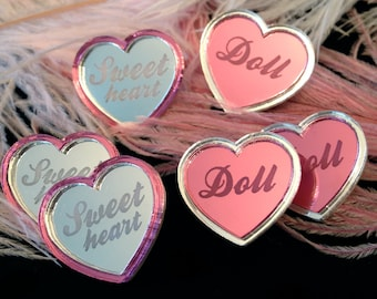 Pink and Silver Mirror Heart Doll or Sweetheart Stud Earring and Ring Set, Laser Cut Acrylic, Plastic Jewelry
