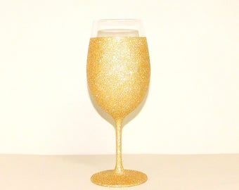 Gold Glittered Wine Glass with Waterproof Finish