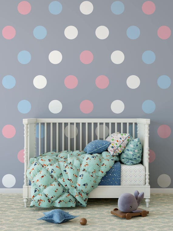 "7 Inch Polka Dot Wall Decals- 7"" Inches Polka Dots Wall Decor -7 Inch Circle Vinyl Decals Polka Vinyl Wall Stickers"