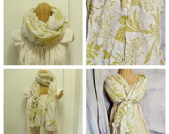 Linen  Botanical Scarf Wrap Chartreuse Green Leaves Long Shawl with Brooch Accessory
