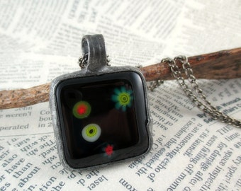 black glass necklace, fused glass necklace, handmade