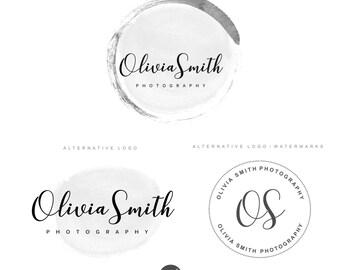 Photographie logo package, création de logo gris Simple logo, Premade Kit de marque, Blog, filigrane, tampon, Custom business paquet, paquet de Logo 63
